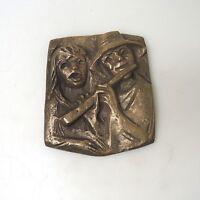 Bronzerelief Bronze Joseph Krautwald Flötenspieler ca. 14,5 x 12 cm 0,9 Kg (1)