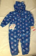 New Carters Child Of Mine Bear with snowflakes Jumpsuit Pjs Soft Fleece 6-9 Mont