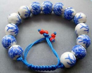 12mm Chinese Porcelain Ceramic Mala Bracelets Hand Woven Bamboo Leaf Wristband