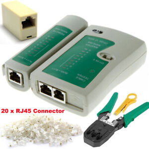Ethernet Network Kit RJ45 Cat5e Cat6 Cable Crimping Tester Tool Connector Joiner