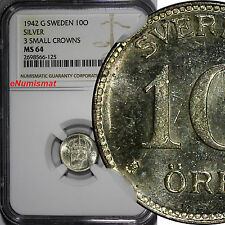 SWEDEN Gustaf V Silver 1942-G 10 Ore NGC MS64 3 Small Crowns WWII Issue KM# 780