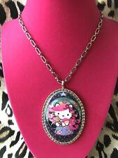 Tarina Tarantino Pink Head Bohemian Hello Kitty Night Time HUGE Cameo Necklace