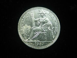 FRENCH INDOCHINA 10 CENTIMES 1937 VIETNAM LAOS CAMBODIA HIGH GRADE 3850# COIN