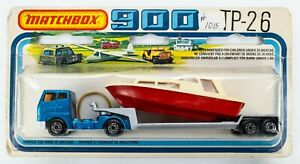 1981 Matchbox 900 TP-26 Articulated Truck BLUE / Low Bed Trailer SILVER