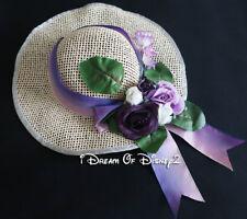 Build-A-Bear WIDE BRIMMED SUN BONNET HAT PURPLE FLOWERS Teddy Clothes Accessory