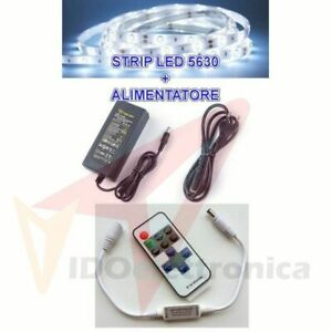 5M STRISCIA STRIP LED SMD 5630 + ALIMENTATORE 5A + DIMMER TELECOMANDO CONTROLLER