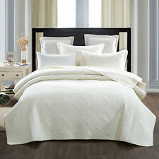 Quilts Coverlet Super King Size 265cm x 285cm  Ivory Includes 2 pillowcases