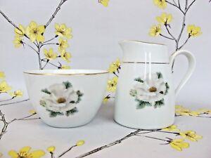 Vintage R.C. Noritake Japan MILK JUG / CREAMER & SUGAR BOWL. Wild White Rose.