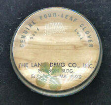 ADVERTISING GLASS PAPERWEIGHT Executive Desk Four Leaf Clover LANG DRUG CO INC