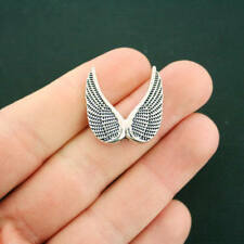 BULK 20 Angel Wings Spacer Beads Antique Silver Tone 2 Sided - SC6265