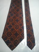 Shepherd's Men's Vintage Silk Tie in Copper with Blue and Black Abstract Pattern