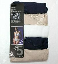 Ex M&S Ladies 5 Pack Cotton Lycra High Legs Flora Embroidery Underwear Briefs