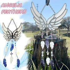 New listing Handmade Little Angel Wings Feathers Wind Chimes Stained Craft Gift Outdoors