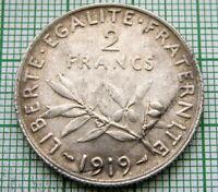FRANCE 1919 2 FRANCS, SOWER SEMEUSE, SILVER HIGH GRADE