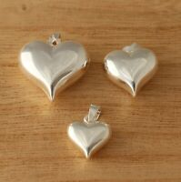 925 Sterling Silver Heart Pendant Plain Puffed Charm Love Jewellery Gift Boxed