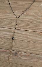 "Ethiopian Opal Tahitian Pearl Rosary Tassel Necklace 44"" Prehnite/ Spinnel R-9"