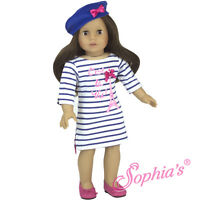 "Doll Clothes 18"" Dress Paris Eiffel Tower Beret Fits American Girl Dolls"