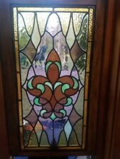 Antique Victorian Stained Glass Window in Original Frame.