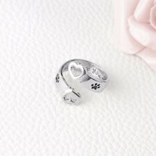 Love Promise Statement Hollow Heart Ends and Dog Footprint Adjustable Ring