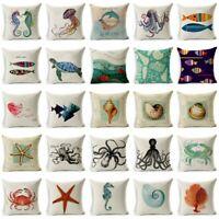 Cotton Linen Sea Animal Pillow Case Sofa Waist Throw Cushion Cover Home Decor