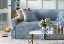 Sofa Sure Fit Blue Matelasse Damask One Piece Slipcovers