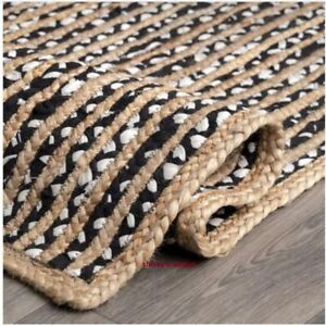 Rug 100 % Jute & Cotton Natural  Hand Braided Style Boho Carpet Modern Area Rug
