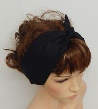 Black women's headband retro self tie hair band 50's hair scarf pin up headscarf