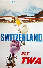 ORIGINAL Vintage Travel Poster TWA TRANS WORLD AIRLINES Switzerland ALPS Crocus