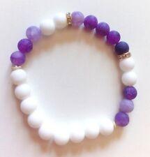 Bracelet en AGATE élastique boules 8 mm blanc / mauve