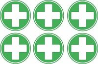 set of 6x first aid cross sticker vinyl health box decal self adhesive
