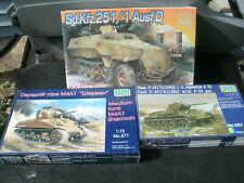 (3) 1:72 Scale Military Model Kits:  (2) Tanks, (1) Half track