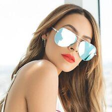 NEW QUAY X Desi High Key Silver/Blue Mirror Sunglasses
