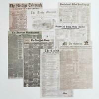 8 Pcs A5 Paper Pad Vintage Newspaper Scrapbooking DIY Planner Card Making Craft