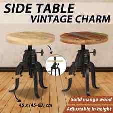 vidaXL Solid Mango/Reclaimed Wood Side Table 45cm Cast Iron Outdoor Tea Stand