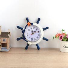 FM- Home Decor Nautical Mediterranean Wood Rudder Anchor Ocean Wall Desk Clock B