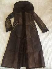 KRYOS FRENCH DESIGNER REVERSIBLE REAL RABBIT FUR LONG COAT DARK BROWN SIZE 38 M