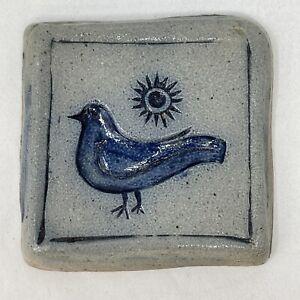 1991 Rowe Pottery Works Salt Glazed Stoneware Wall Hanging Spoon Rest Bird & Sun