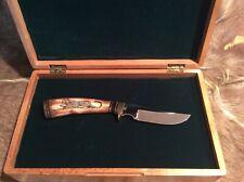 Al Warren Schrimshawed Fossilized Walrus Ivory Tusk Fixed Blade Knife