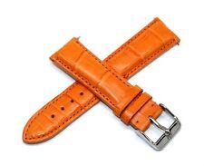 20MM Genuine Alligator Leather Skin Watch Strap Band ORANGE TechnoMarine Buckle