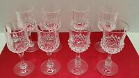 Vtg Retro Cut Crystal Small Shot Liquor Cordial Glass Set of 8 Barware Stemware