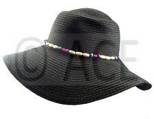 Womens Straw Summer Hats Ladies Wide Brim Bead Detail Black Sun Floppy Hat