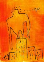 21010208 e9Art ACEO King Kong Abstract Figurative Outsider Art Painting Brut