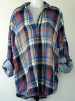 Sonoma Blue and Orange Gauzy Cotton Plaid Roll-Tab Long Sleeve Popover Shirt 3X