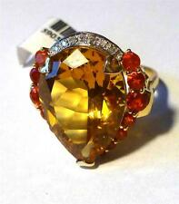 Firey Orange Spessartite Garnet, Citrine & Diamond 14k Y Gold Ring sz 7