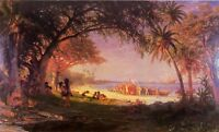 "Oil painting Albert Bierstadt - The Landing of Columbus with people by beach 36"""