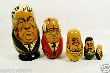 "VTG Past Russian Soviet Political Leaders Nesting Doll Matryoshka 5 pc set 5""L"