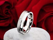 Designer Verlobungring Antragsring Edelstahlring mit Zirkonia Ring Gravur DV01