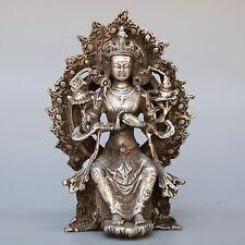Collectable Handwork Antique Miao Silver Carve Auspicious Delicate Fairy Statue