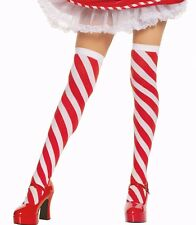 Candy Cane Striped Thigh High Christmas Elf Stockings