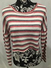 Women's caution to the wind crop shirt in a size medium with stripes